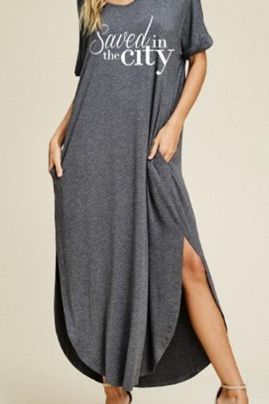 Gray Logo Maxi Dress