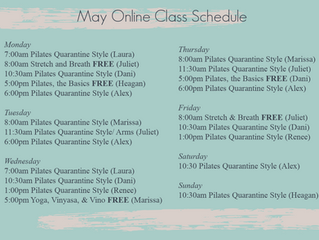 May Online Class Schedule