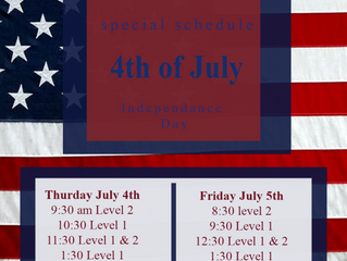 4th of July Class Schedule