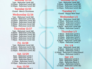 Holiday Class Schedule '18