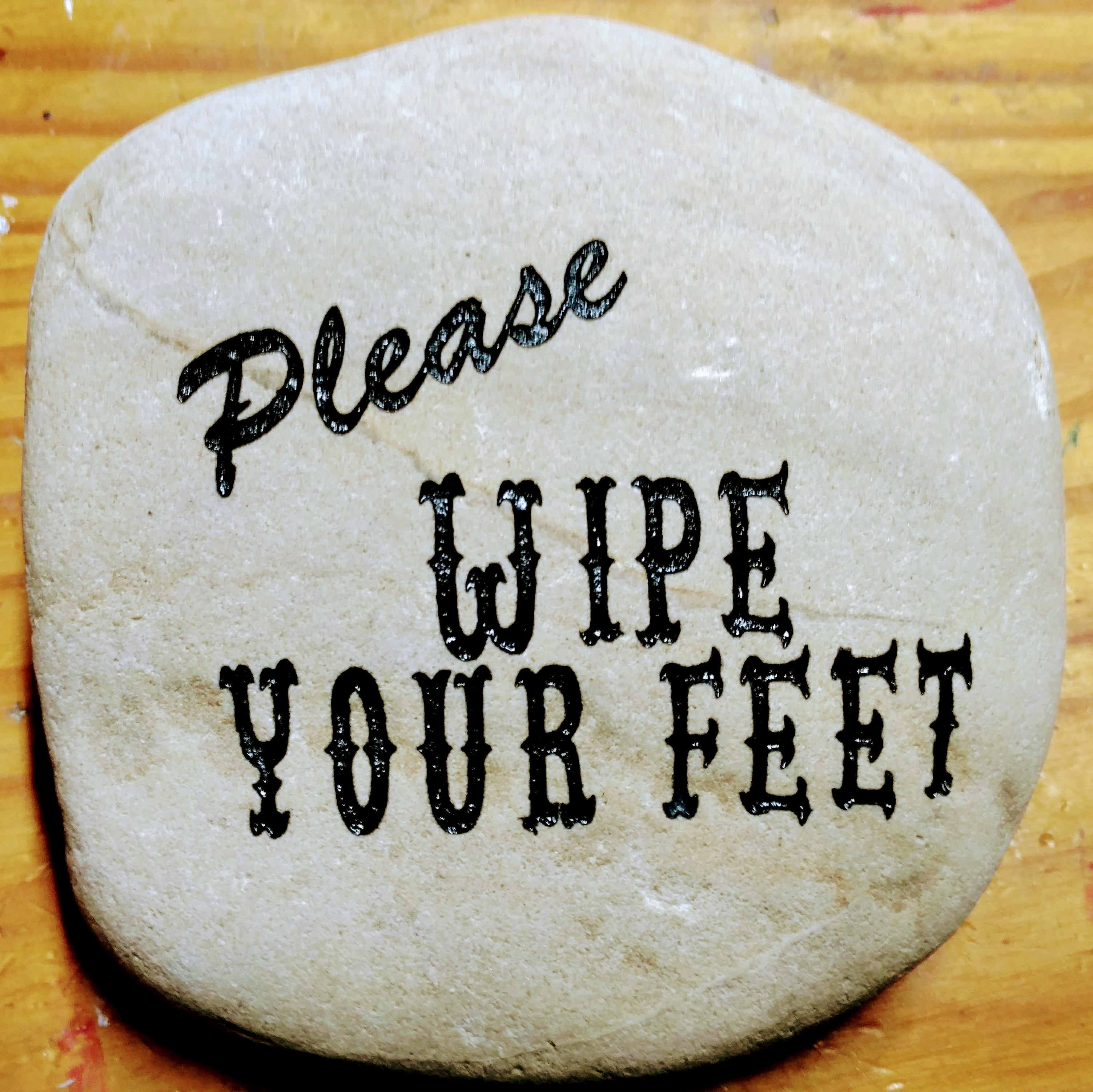 Please Wipe Your Feet Etched Rock