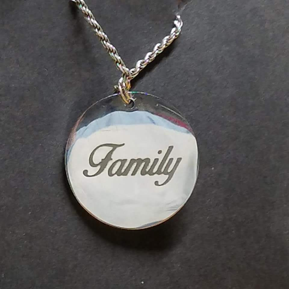 Family on Metal pendant Etching Etch