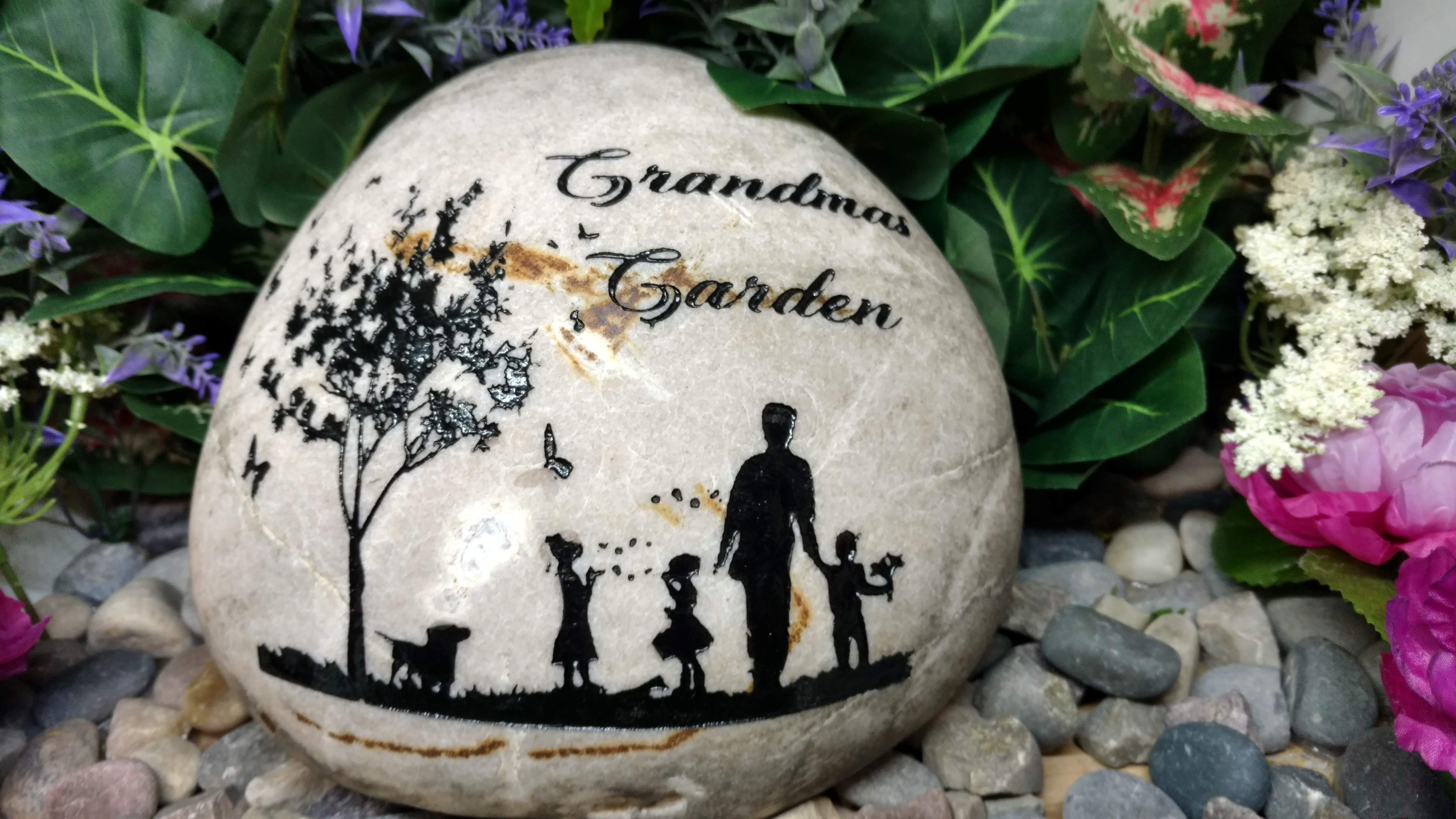 Grandmas Rock Garden Stone Rock Etched E