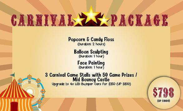 carnival party package kids party package kids party planner jnr entertainment carnival package popcorn candyfloss balloon sculpting face painting carnival party