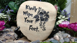 Kindly Wipe Your Feet BW Etched Engraved