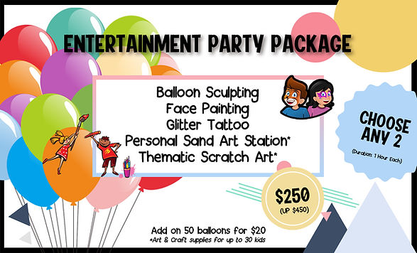 entertainment party package kids party package kids party planner jnr entertainment balloon sculpting face painting glitter tattoo sand art scratch art