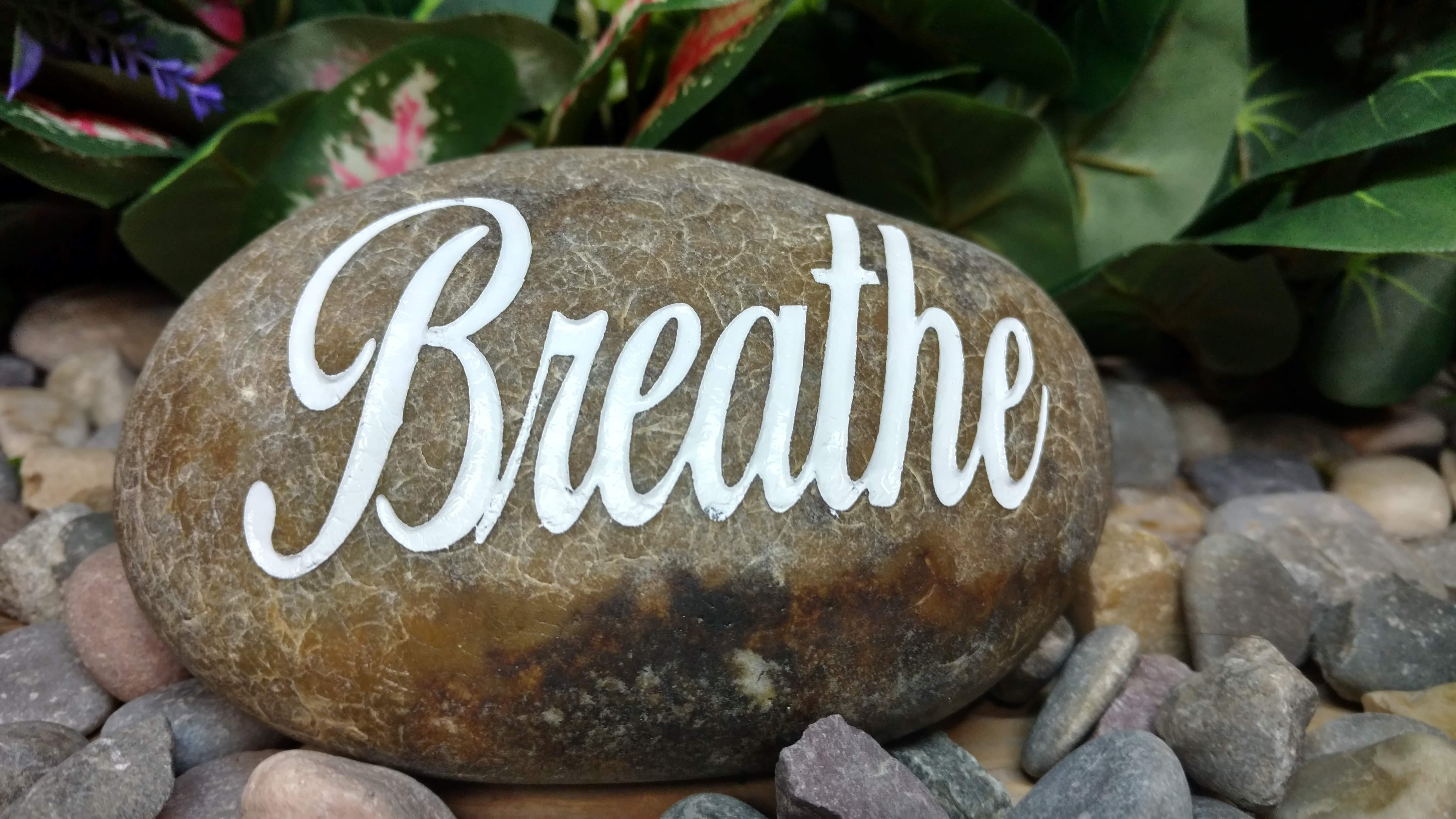 Breathe Etched Engraved Rock