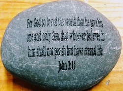 John 3:16 Quote on Rock Etched