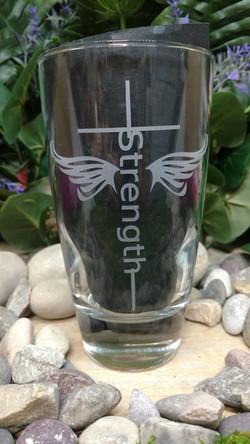 Strength Wings Cross on Glass