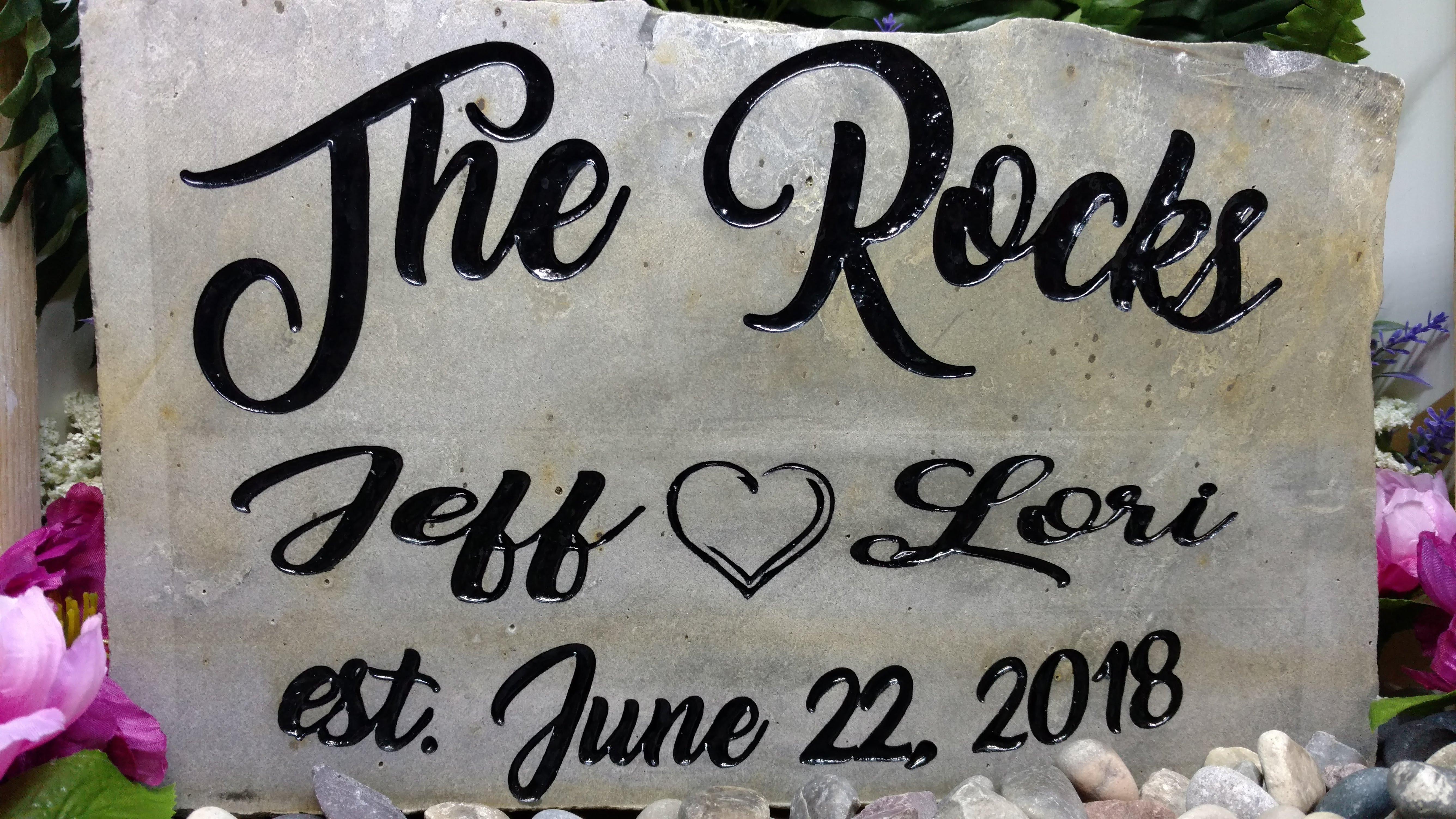 Family Crest Rock Names and Dates Establ