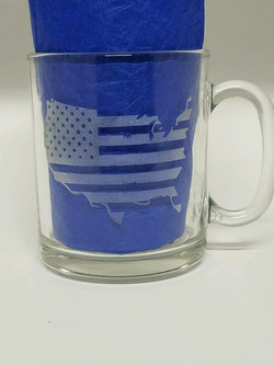 Flag USA Etched Glass