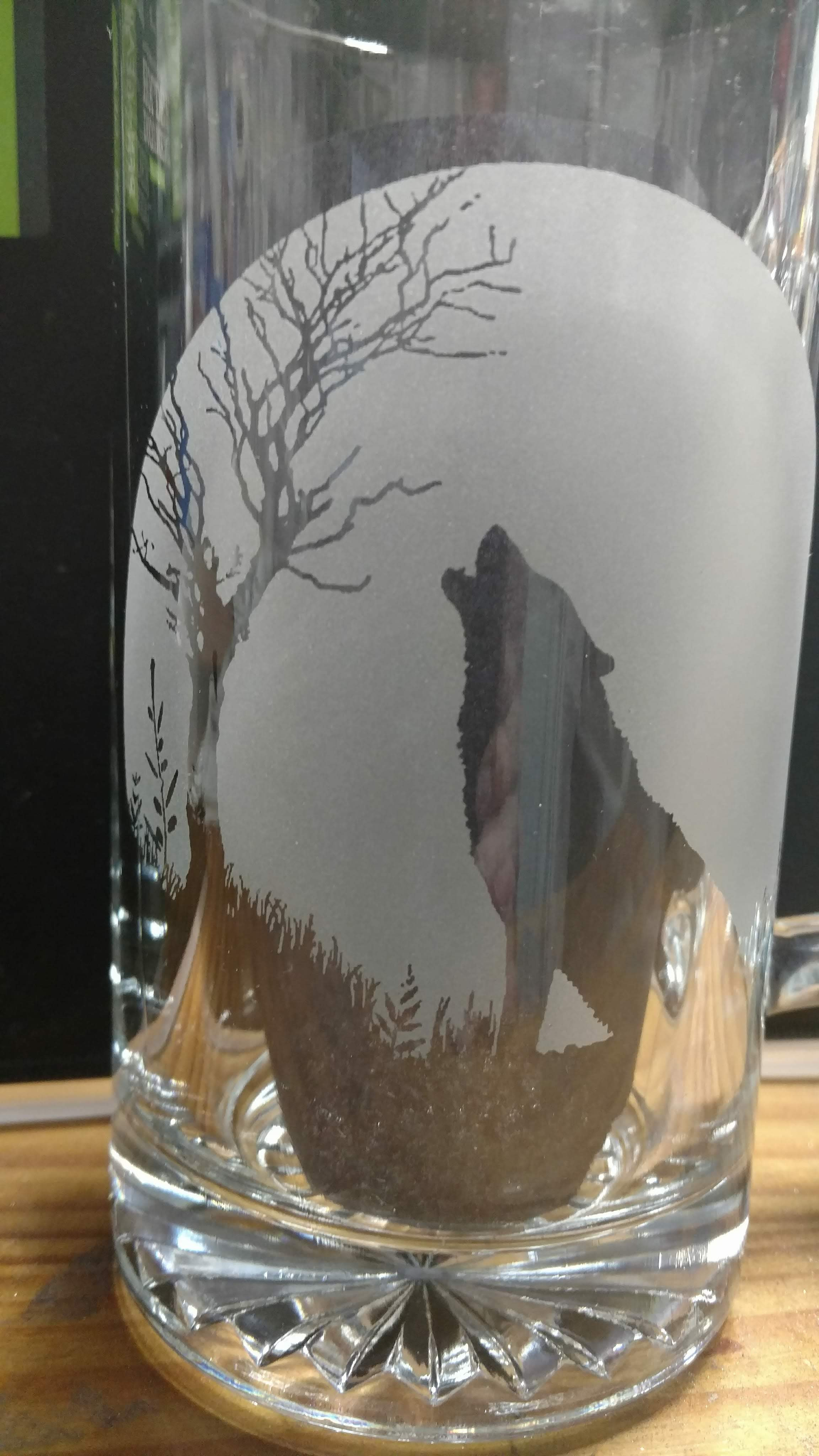 Lone Wolf Moon Etched Etching