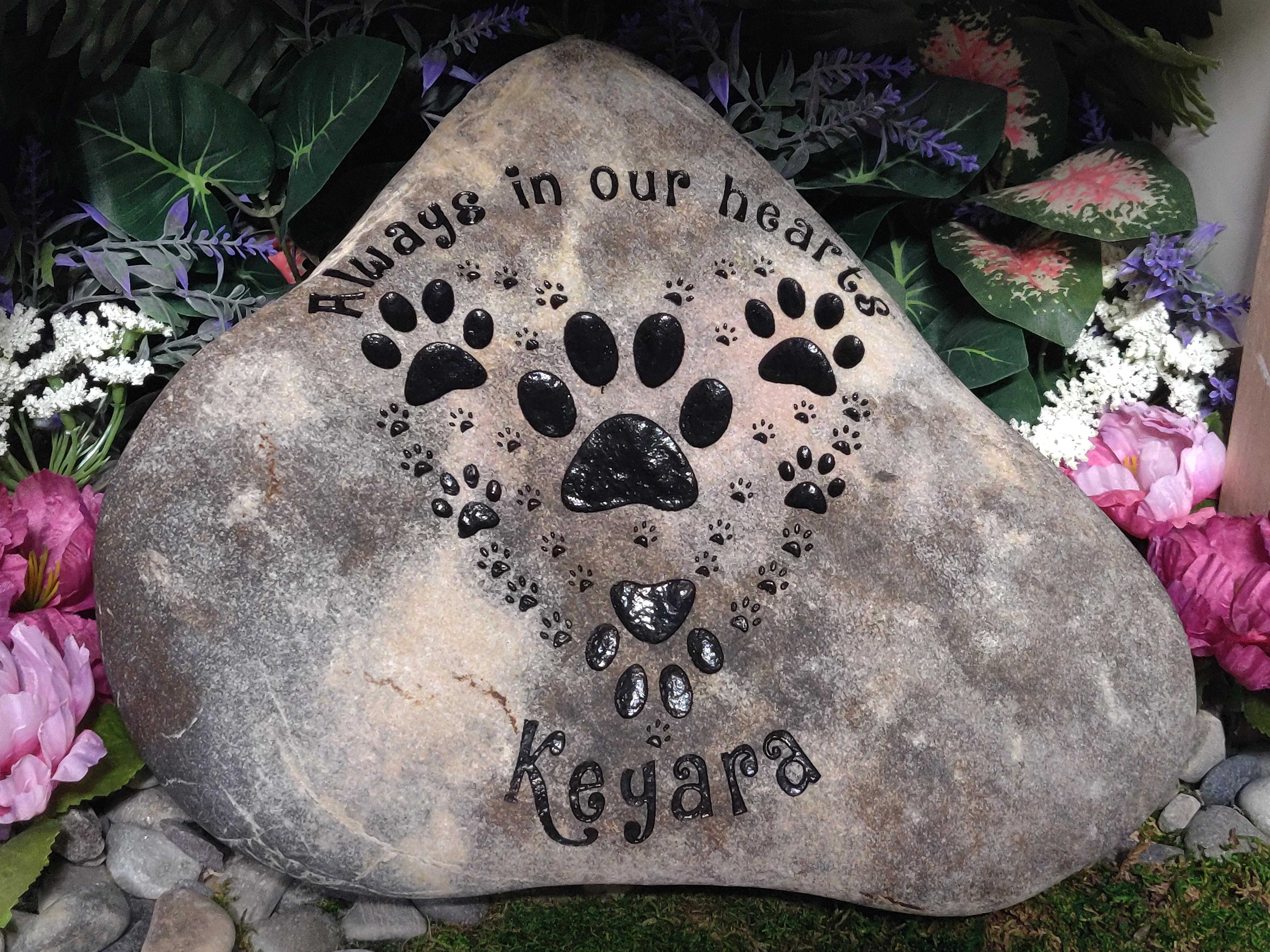 Pet memorial stones paw print heart