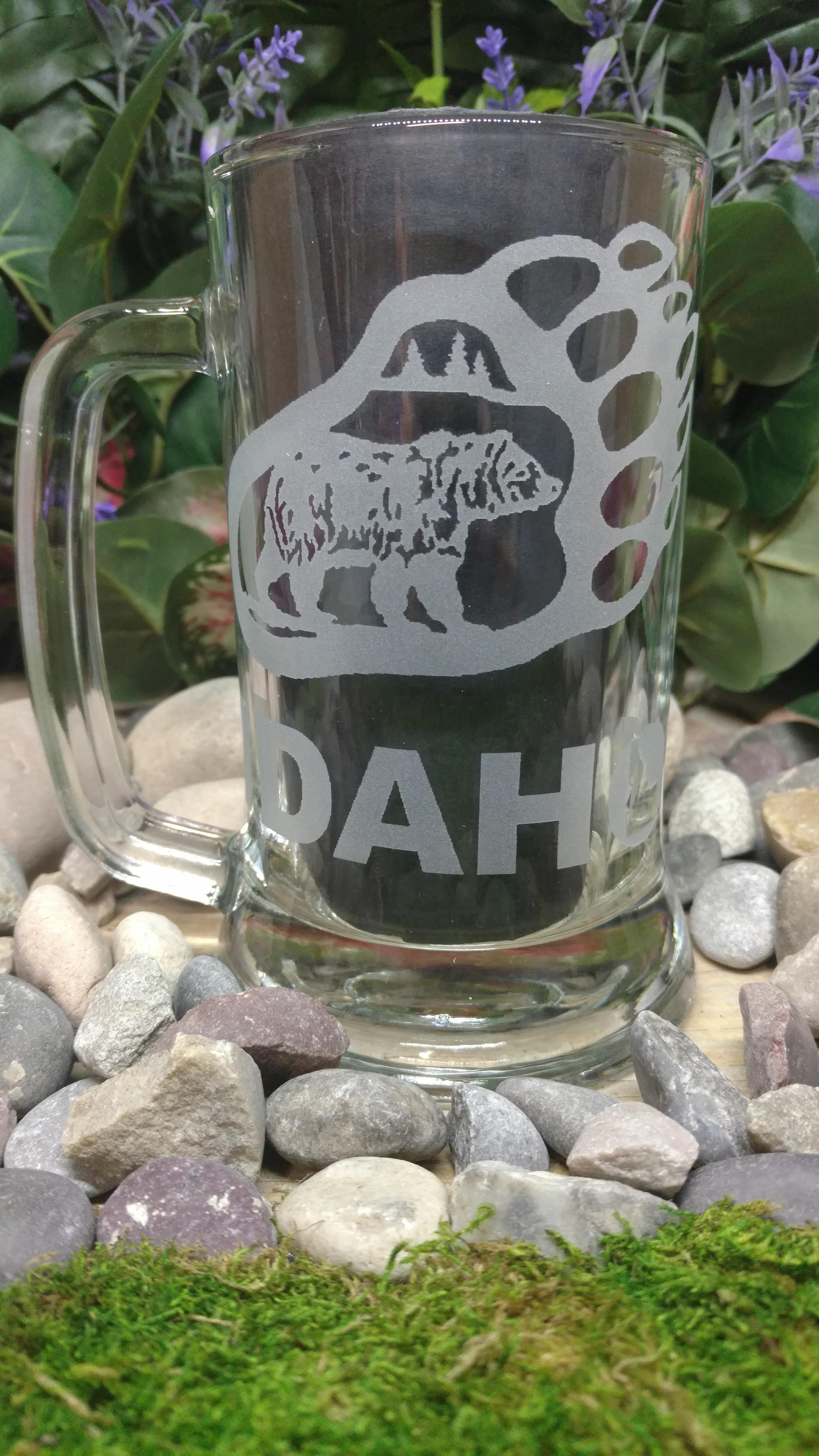 Bear Paw Scene Idaho Etched Glass