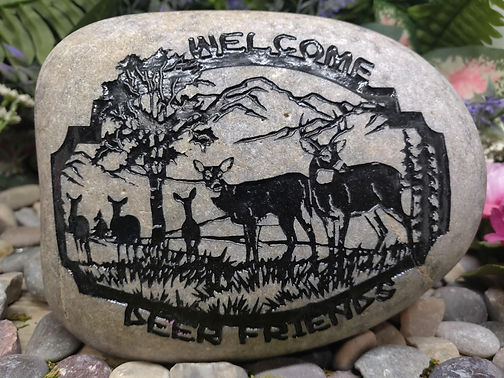 River Rock Stone Etched Garden Welcome D