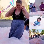 Gender reveal foam party
