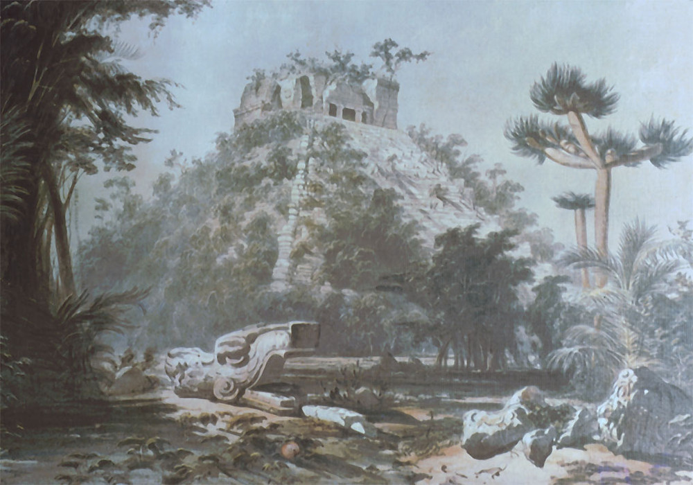 Le Castillo en 1843 à l'époque de John Lloyd Stephens et Frederick Catherwood