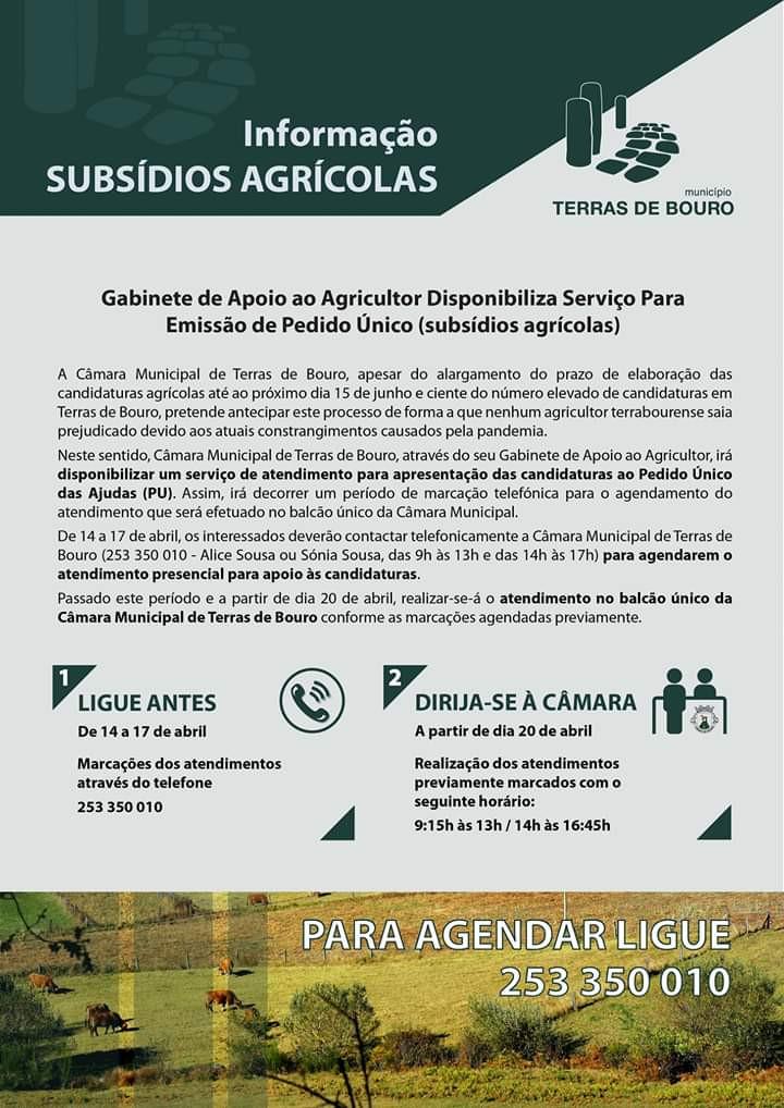 Informação sobre subsídios agrícolas em Terras de Bouro