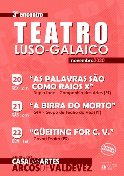 De 20 a 22 de novembro a Casa das Artes de Arcos de Valdevez promove o 3º Encontro de Teatro Luso-Galaico de Arcos de Valdevez.