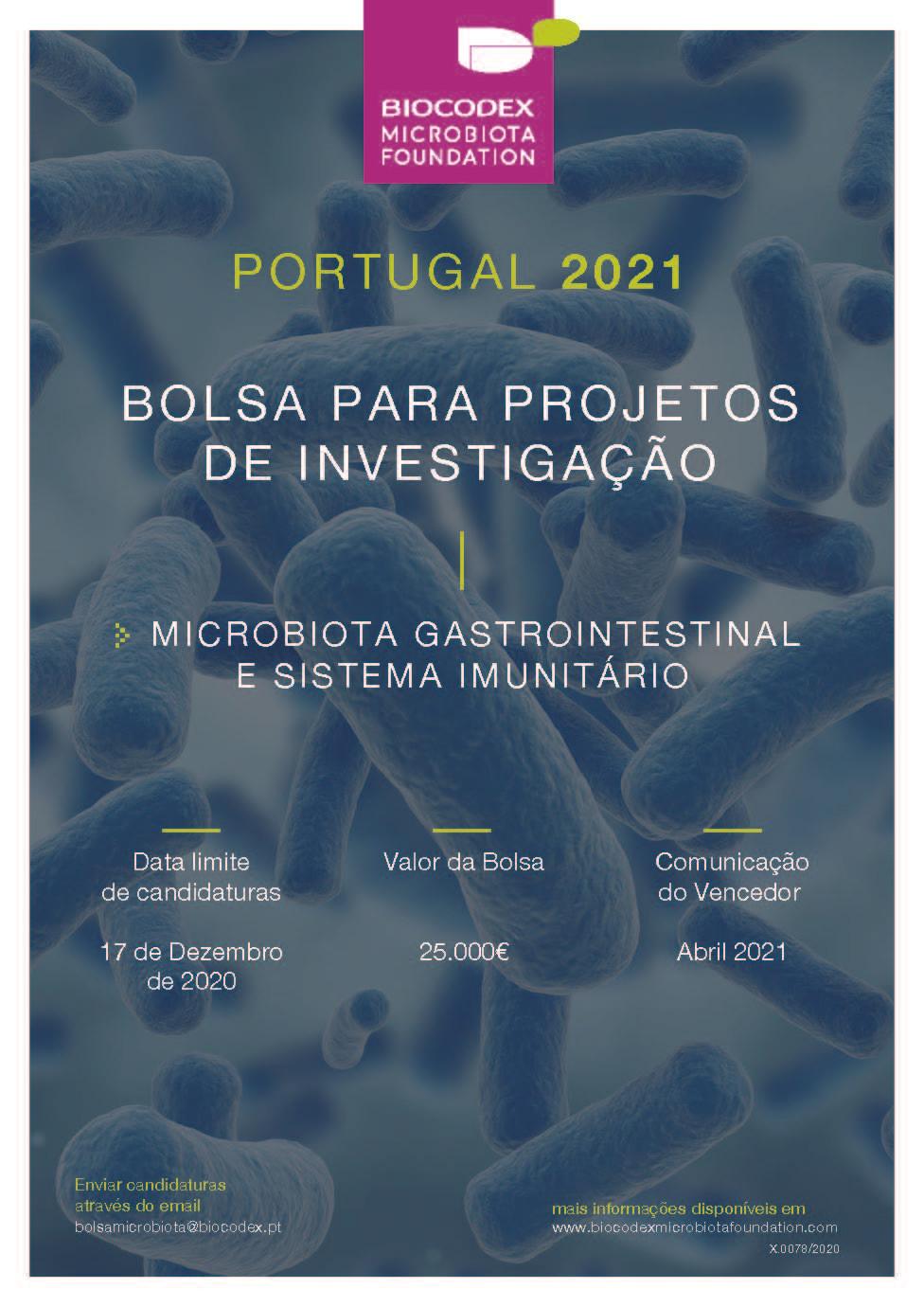 As candidaturas devem ser enviadas, até ao dia 17 de dezembro de 2020, para o endereço de e-mail: bolsamicrobiota@biocodex.pt.
