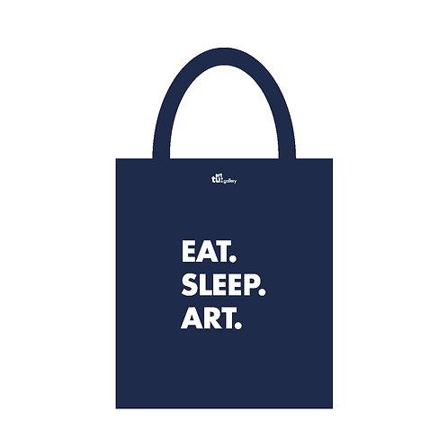 "Art tu: gallery "" Eat. Sleep. Art"" 帆布環保袋 - 深藍色"