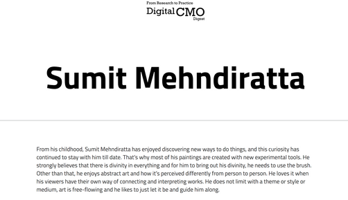 Feature at CMO Digest