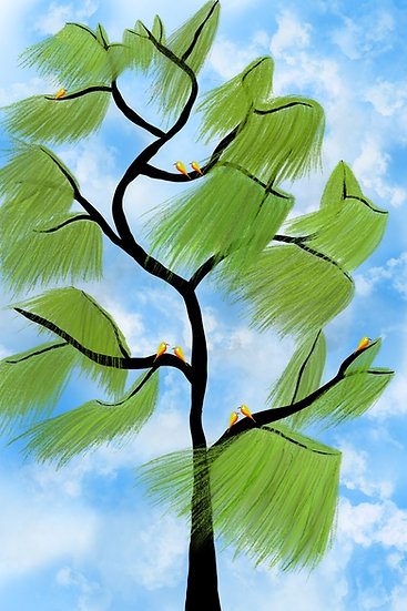Birds by the weeping willow Archival print