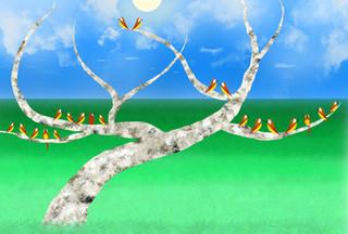 Birds by the tree