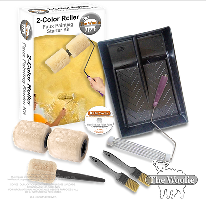 The Woolie 2-Color Paint Roller Faux Painting Technique (Beginner-Starter-Kit)