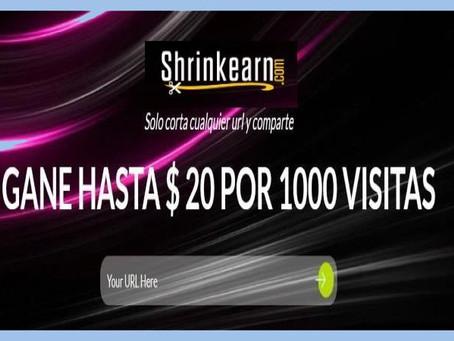 ShrinkEarn: 20 $ por 1000 visitas y pagos diarios