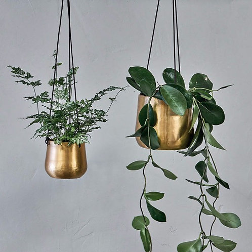 Brass effect hanging planter