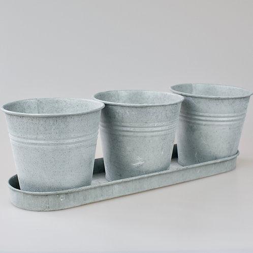 Zinc plant pots with tray