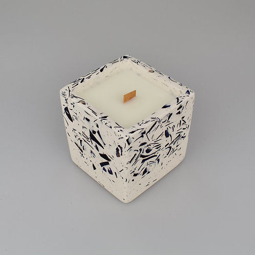 Coconut and soy wax candle in square mussel terrazzo pot