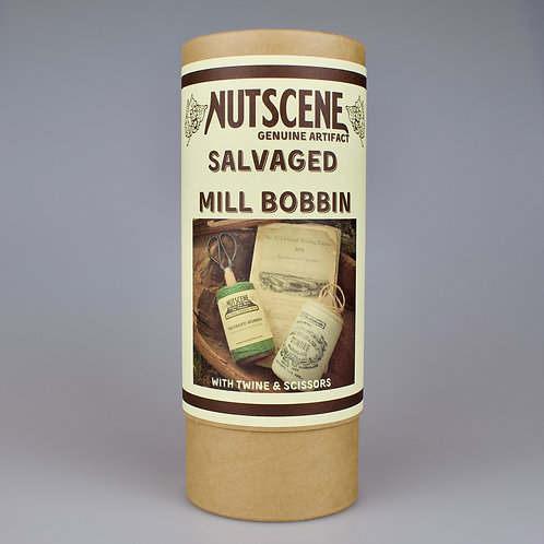 Salvaged Mill Bobbin Twine Dispenser with Twine and Scissors