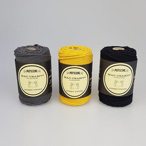 Macrame Twine - Mustard, grey or black
