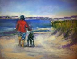 Black Dog on Beach