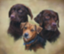 Poppy Bob and Patch  Trio of Dogs pastel