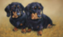 Hetty & Betty Dachunds in Pastel