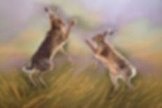 Boxing Hares Pastel  painting & Print