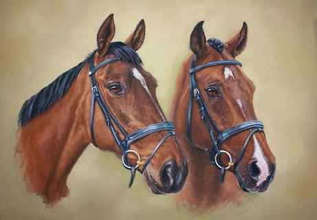 Emma & Arnie Horse Portrait in Pastel Cath Inglis