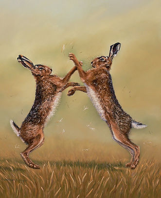 Boxing brown hares pastel painting