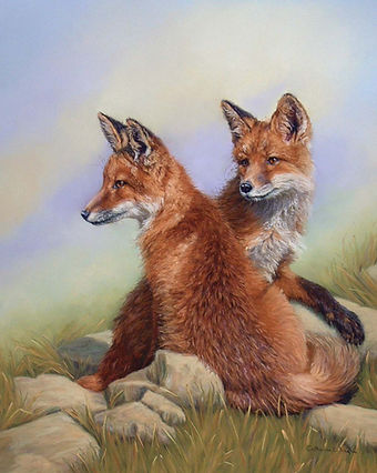 Adolecent Fox Cubs  pastel painting