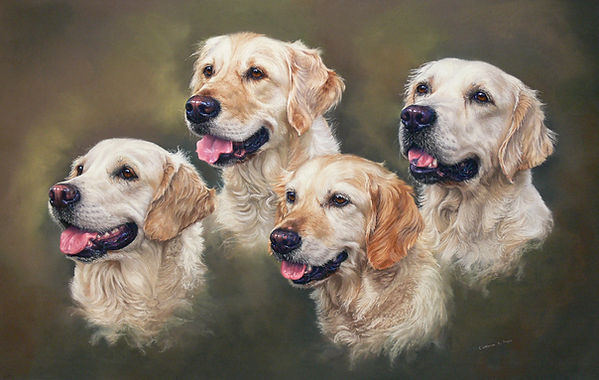 Cattnels Retrievers voted by the public as winner of The Peoples Choice  Award  at the Society of Woman Artist  Exhibition Mall Galleries, London in 2011.