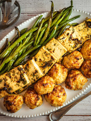 Convection Meal - Chicken Meatballs with Miso and Ginger and Roasted Green Beans with Spicy Tofu