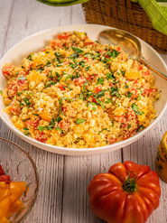 Steamed Couscous and Corn Salad with Heirloom Tomatoes and Basil