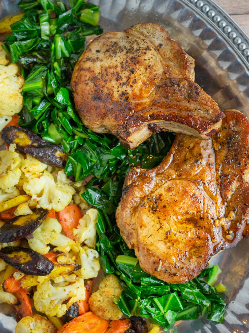 Oven Roast Stuffed Pork Chops with Roasted Vegetable Medley