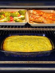 Oven Fried Chicken, Corn Spoonbread Casserole, Roasted Broccoli Slices