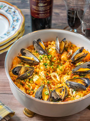 Paella with Steamed Mussels and Broiled Shrimp