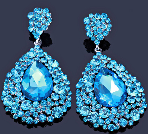 Aqua Chunky Pageant Earrings Without Ab Stones