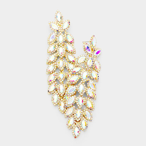 Long Ab Crystal Rhinestone Pageant Earrings On Gold